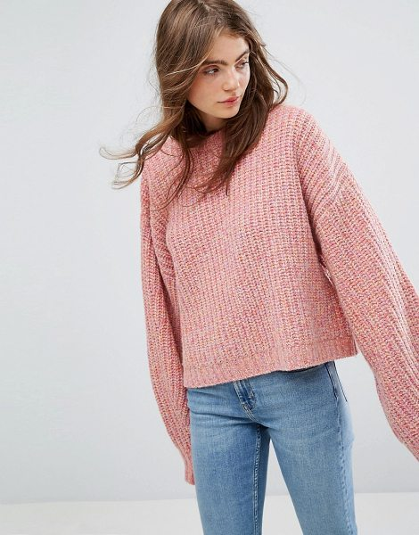 Weekday press collection knit sweater in pinkmelange - Sweater by Weekday, Wool-rich knit, Ribbed finish, Crew...
