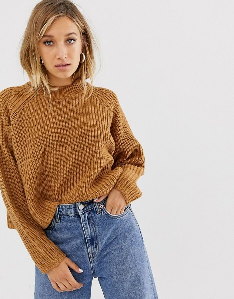 Weekday ribbed oversized sweater in brown in brown