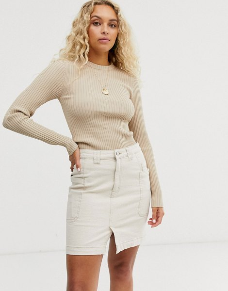 Weekday ribbed round neck sweater in beige-brown in brown