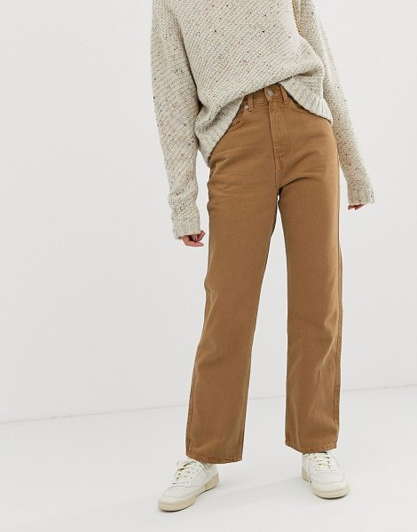 Weekday row slim straight jeans with organic cotton in camel-brown in brown