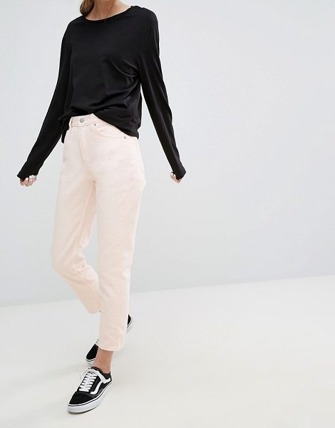 "Weekday Seattle High Waist Tapered Jean in pink - """"Jeans by Weekday, Non-stretch denim, High-rise waist,..."