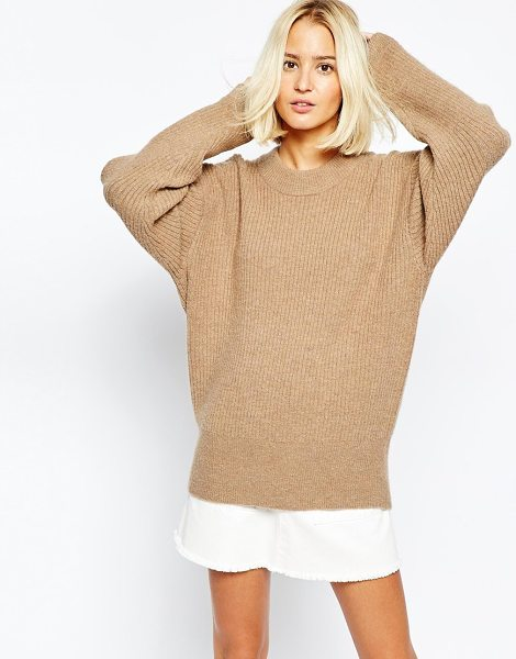 Weekday Super cosy oversize knit in beige - Knit dress by Weekday Mohair wool mix fabric Round...