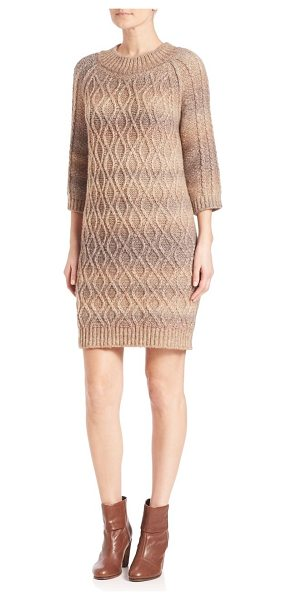 Weekend Max Mara dingey cable-knit sweater dress in hazelnut - Chic and cozy cable-knit sweater dress. Crewneck....