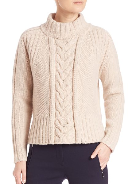 Weekend Max Mara dingo virgin wool cable-knit sweater in sand - Virgin wool mockneck sweater with cable-knit front....