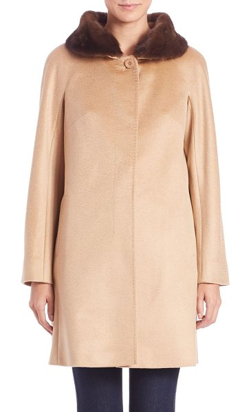 MAX MARA STUDIO Mirano fur-collar cashmere coat - Plush fur collar tops feminine designFold-over fur...