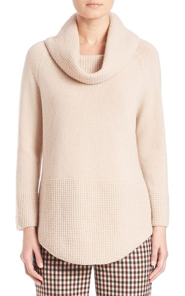 Weekend Max Mara namur virgin wool cowlneck sweater in sand - Classic cowlneck sweater with waffle-knit trim....