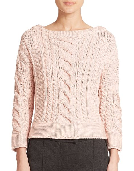 Weekend Max Mara Rana cable-knit sweater in pink - Chunky cable knitting adds rich depth to this...