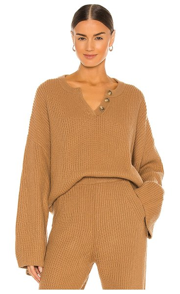 Weekend Stories oversized rib henley in camel