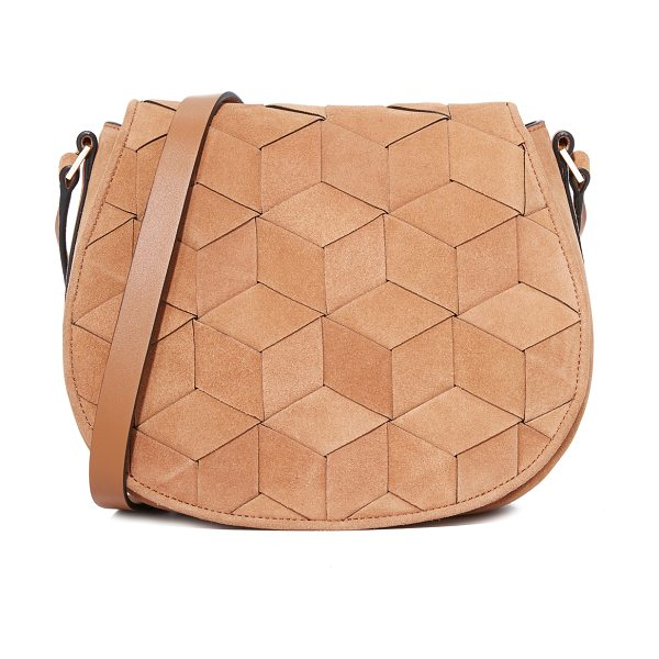 Welden escapade saddle bag in tan - A structured Welden bag composed of woven suede. The...
