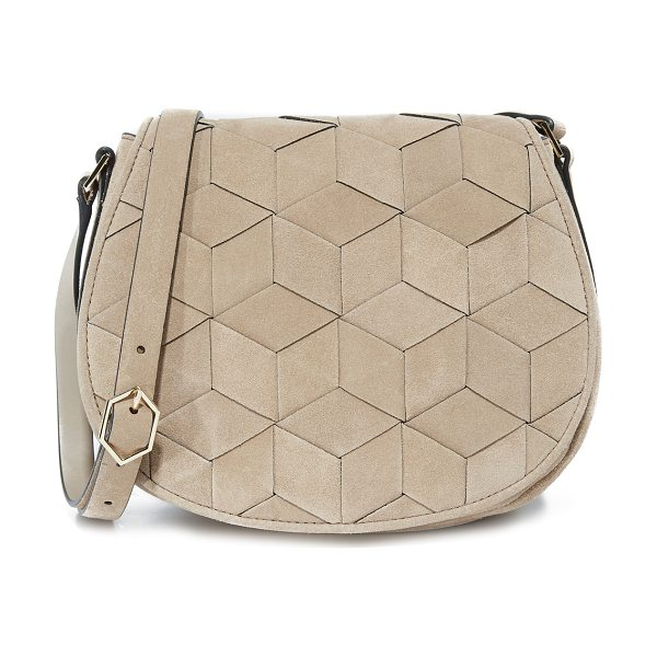 WELDEN escapade saddle bag in dessert taupe - A structured Welden bag composed of woven suede. The...