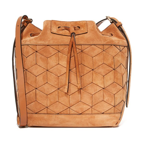 Welden gallivanter bucket bag in tan - A suede Welden bucket bag with the brand's signature...