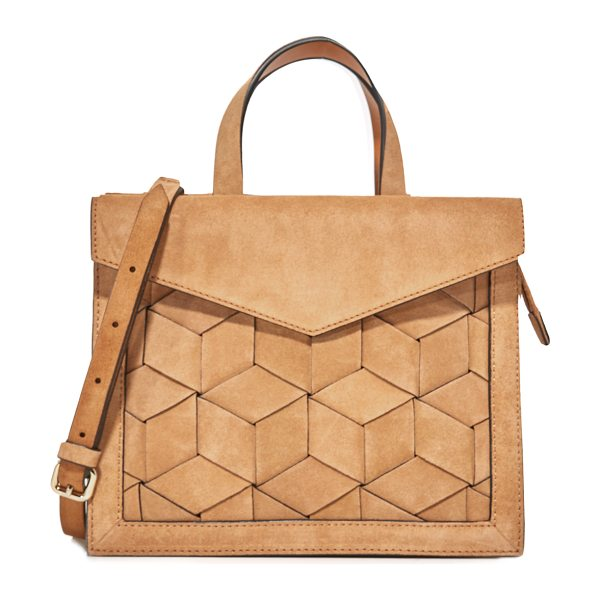 Welden voyager small flap satchel in tan - A structured Welden satchel in woven suede. A magnetic...