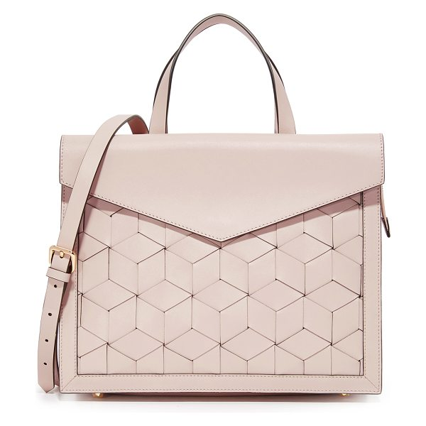 Welden Voyager Flap Satchel in taupe - Woven leather composes this roomy Welden satchel. A...