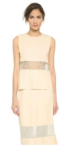 Wes Gordon banded lace shell in cream - A simple Wes Gordon shell feels feminine with delicate...
