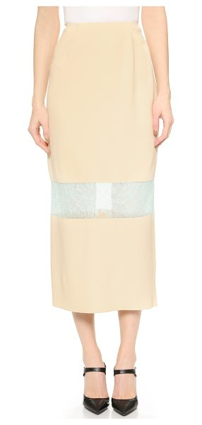 Wes Gordon banded lace skirt in cream - Delicate lace trim details a simple crepe Wes Gordon...