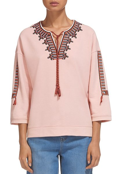 Whistles Embroidered Tasseled Sweatshirt in pale pink - Whistles Embroidered Tasseled Sweatshirt-Women