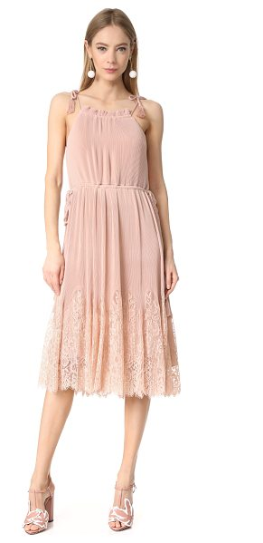 Whistles lillan pleated lace mix dress in pale pink - NOTE: Sizes listed are UK. Petite accordion pleats and a...