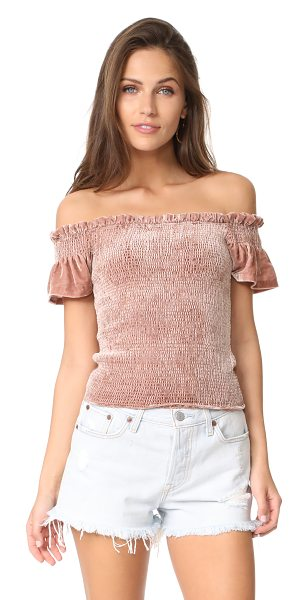 Whistles phi phi smocked velvet top in pink - NOTE: Sizes listed are UK. Allover smocking lends a...
