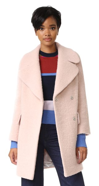 Whistles penny double coat in pink - A brushed finish lends cozy texture to this weighty...