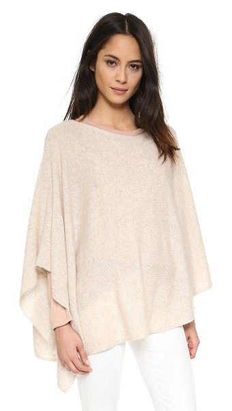 White + Warren 3 way cashmere poncho in cobblestone - An asymmetrical White + Warren poncho, composed from...
