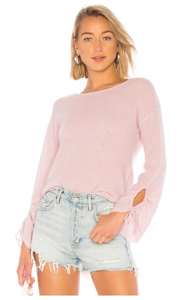 White + Warren Gathered Sleeve Crew Neck Sweater in pink - 100% cashmere. Hand wash cold. Knit fabric. Drawstring...