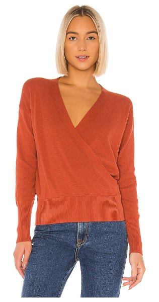 White + Warren faux wrap pullover in terracotta