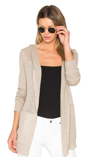 White + Warren Hooded Cardigan in beige - 80% cotton 20% linen. Open front. Attached hood. Side...