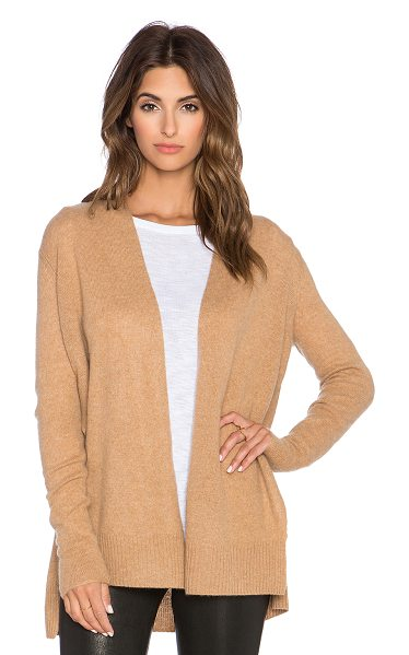 White + Warren Side crossover cardigan in tan - 100% cashmere. Hand wash cold. Side seam slits. Ribbed...