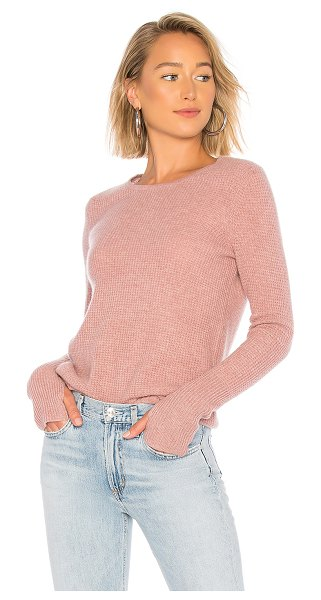 White + Warren Thermal Crewneck Sweater in rose - Cashmere blend. Hand wash cold. Waffle knit fabric. Rib...