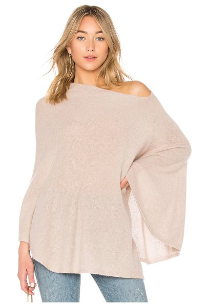 White + Warren Two Way Angled Poncho in mauve - Cashmere blend. Dry clean only. One shoulder styling....