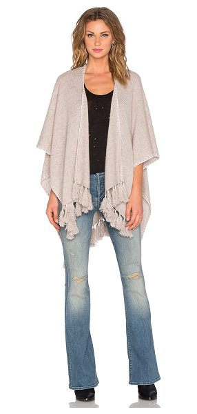 White + Warren Two way tassel poncho in beige - 100% cashmere. Dry clean only. Tassel fringe trim...