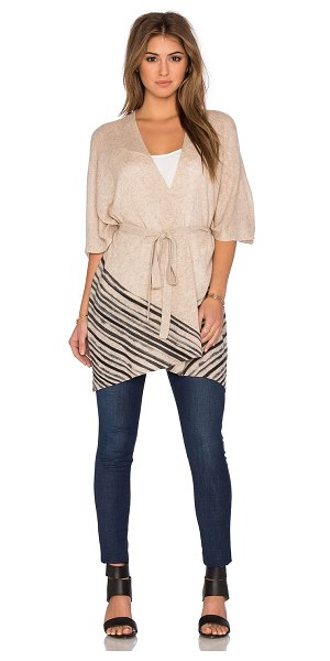 White + Warren Watercolor stripe poncho in beige - 100% cashmere. Dry clean only. Open front. Belted waist....