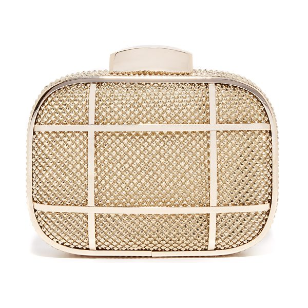 Whiting & Davis cage minaudiere clutch in gold - Studded metal mesh lends a hit of rock-n-roll attitude...