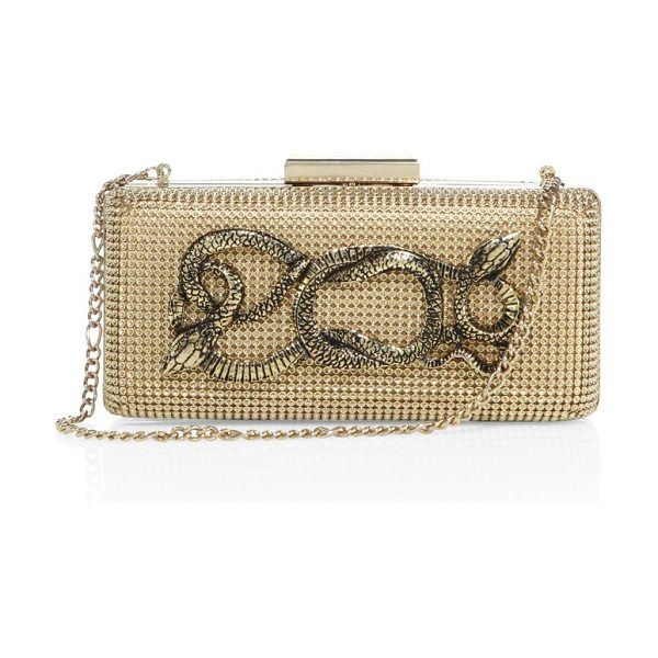 Whiting & Davis serpents goldtone convertible minaudiere in gold - Dazzling mesh minaudiere with edgy snake accents....