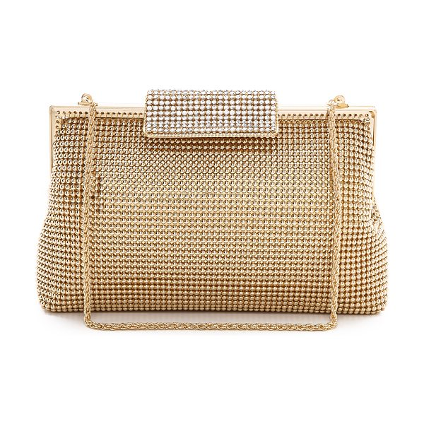 Whiting & Davis crystal clasp clutch in gold - A metal-mesh bag is a glamorous complement to a...
