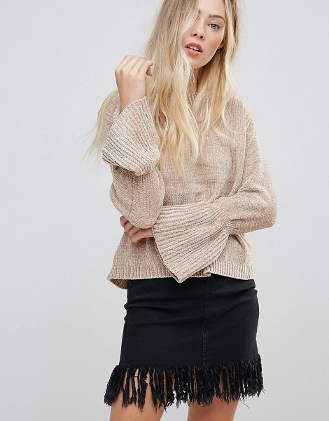 "Wild Flower Chenille Sweater With Fluted Sleeves in beige - """"Sweater by Wild Flower, Soft-touch knit, Round neck,..."