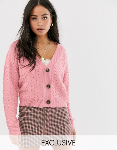 Wild Honey chunky knit cardigan in cable-pink in pink