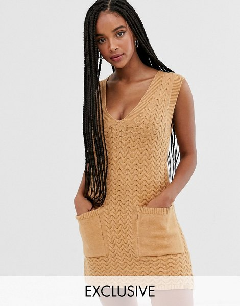 Wild Honey knitted tunic dress with pockets-beige in beige