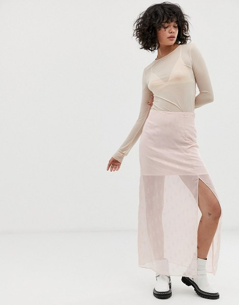 Wild Honey slip skirt in embellished sheer satin-pink in pink