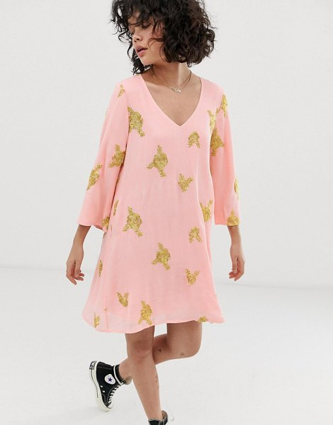 Wild Honey swing dress with all over embroidery in pinkgold