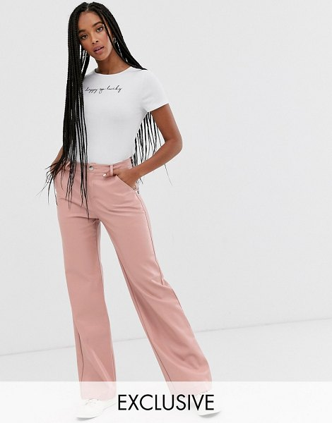 Wild Honey wide leg pants in faux leather-pink in pink