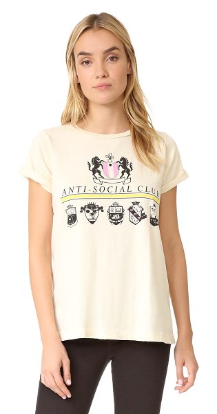 Wildfox anti social club tee in vanilla latte - A royal crest motif and 'Anit-social club' lettering...
