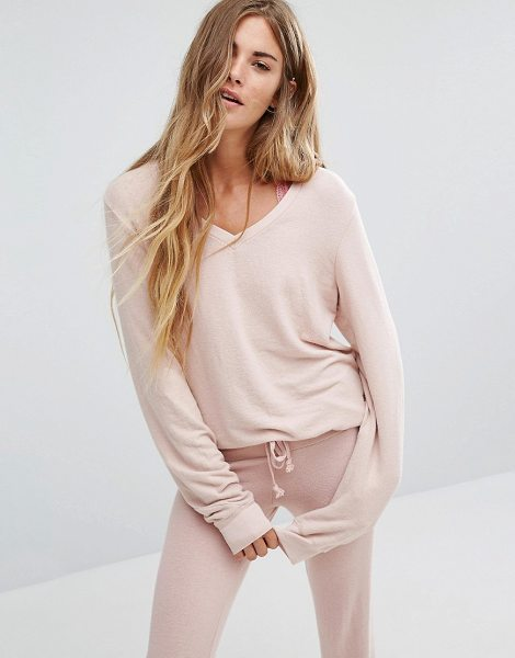 Wildfox Baggy Beach V Neck Sweater in pink - Sweater by Wildfox, Textured fine knit, V-neckline,...
