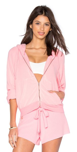 WILDFOX Basics hoodie in pink - 47% poly 47% rayon 6% spandex. Hand wash cold. Zip front...
