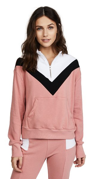 Wildfox blocked soto warm up top in mulled rose multi - Fabric: Terry Colorblock panels Half-zip style...