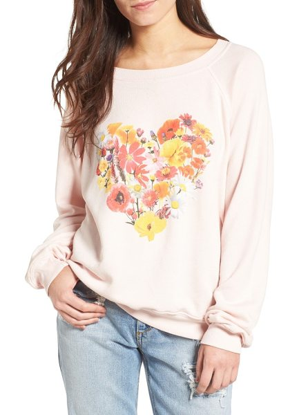 Wildfox blooming heart pullover in pink gloss - A blooming heart graphic makes this slouchy, ultra-comfy...
