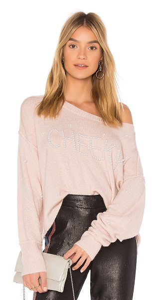 Wildfox Cheeky Pullover Sweater in pink - 55% nylon 21% acrylic 10% wool 10% alpaca 4% spandex....