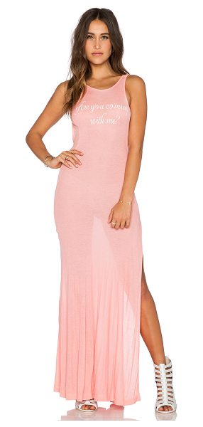 Wildfox Come with me madlvies maxi dress in coral - 47% rayon 47% poly 6% spandex. Hand wash cold. Front...