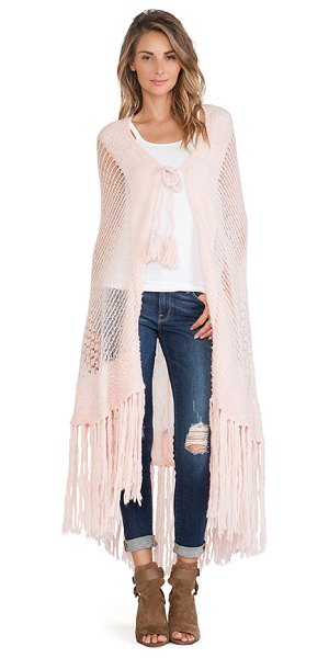 Wildfox Garden shawl in pink - 56% acrylic 34% nylon 10% wool. Dry clean only. Front...