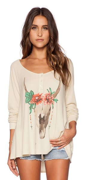 Wildfox Desert dahlia tee in tan - 50% rayon 50% poly. Hand wash cold. Front graphic print....